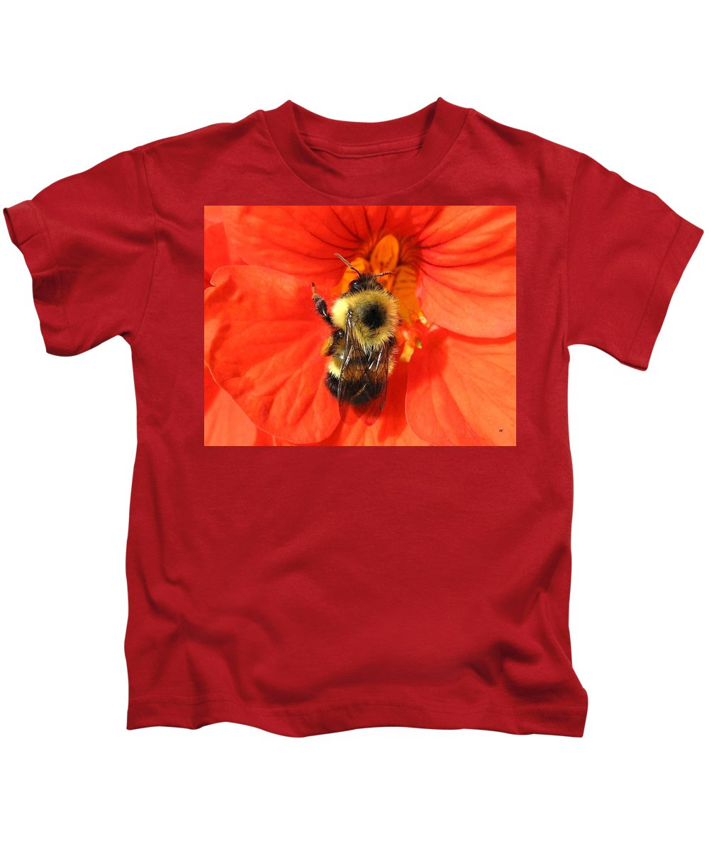 Bee Kids T-Shirt featuring the photograph Bee And Nasturtium by Will Borden