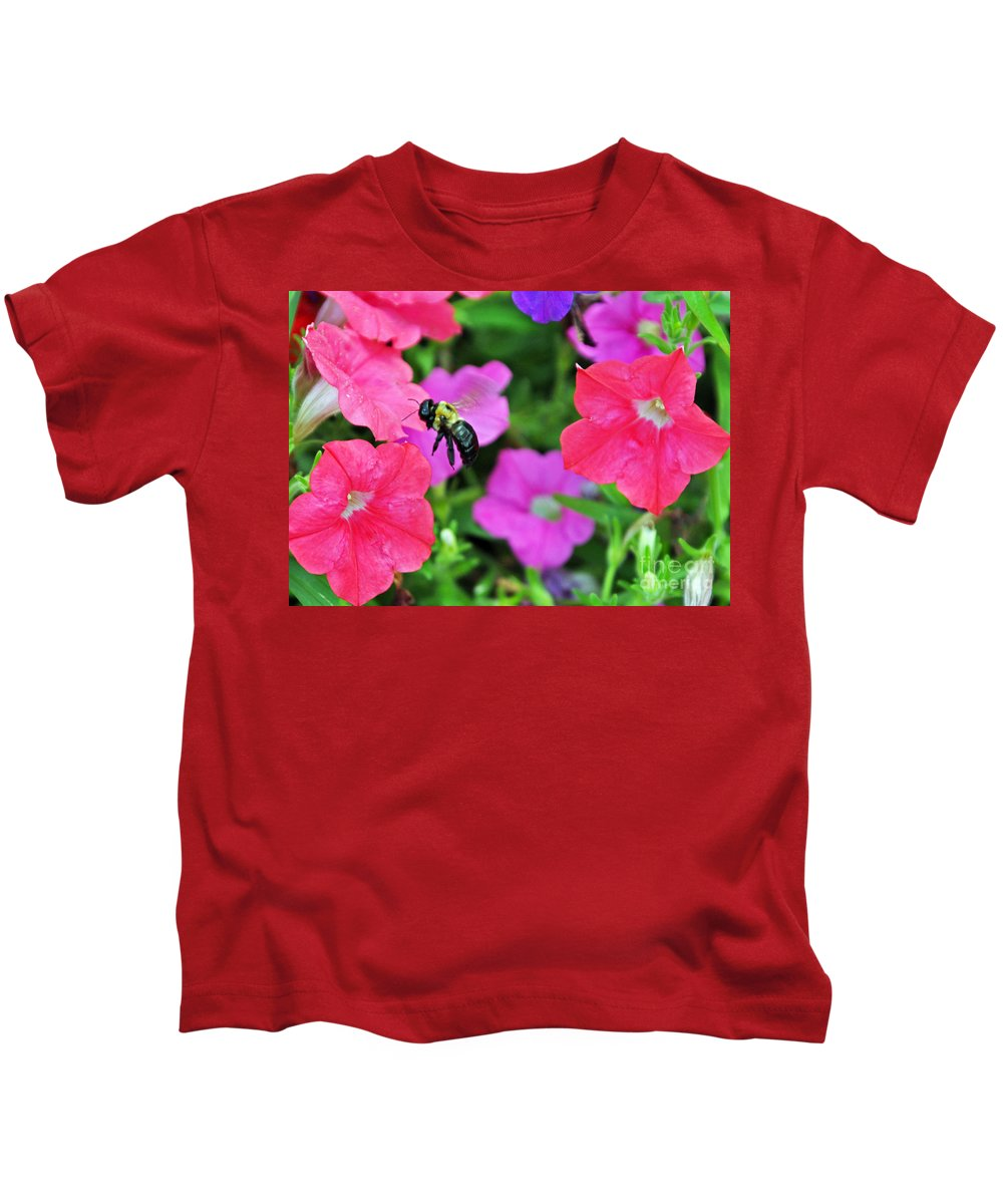 Bee Kids T-Shirt featuring the photograph Bee In Flower Garden by Lydia Holly