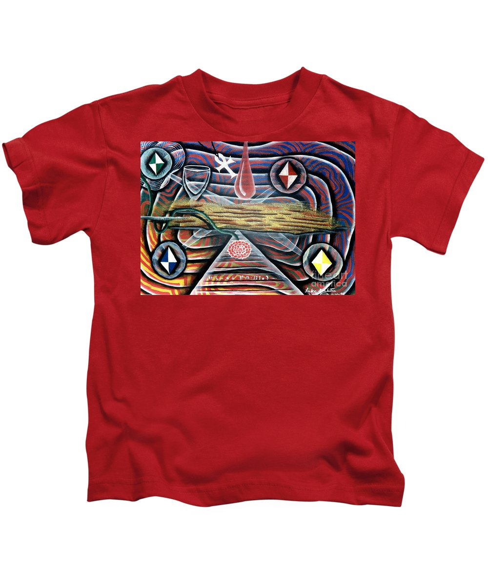 Soul Kids T-Shirt featuring the painting Behold Thy Soul Is A Living Star by Luke Galutia
