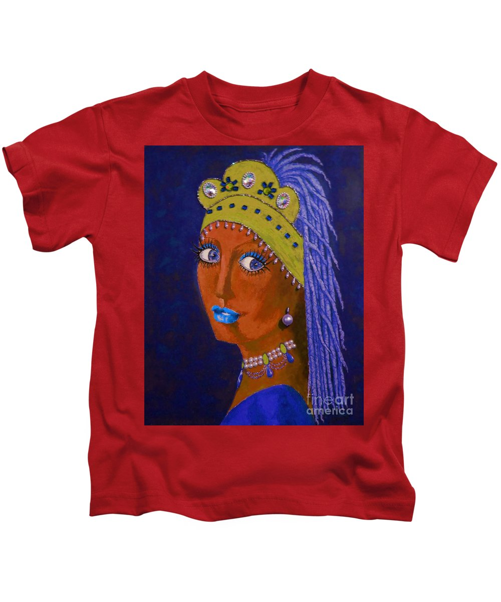 Iconic Portrait Kids T-Shirt featuring the painting Belly Dancer With A Pearl Earring -- Blue Background by Jayne Somogy