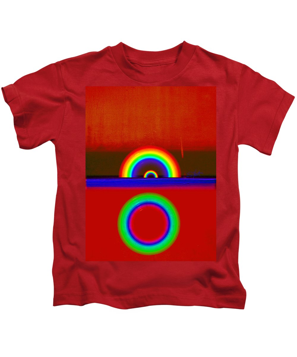 Rainbow Kids T-Shirt featuring the painting Beneath The Deep Blue Sea by Charles Stuart