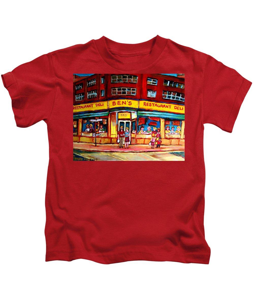 Bens Famous Restaurant Kids T-Shirt featuring the painting Ben's Delicatessen - Montreal Memories - Montreal Landmarks - Montreal City Scene - Paintings by Carole Spandau