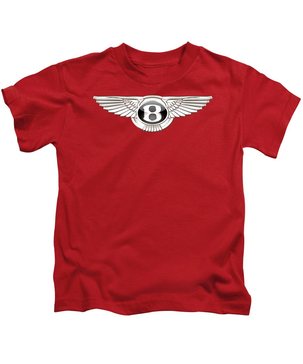Wheels Of Fortune� Collection By Serge Averbukh Kids T-Shirt featuring the photograph Bentley 3 D Badge on Red by Serge Averbukh