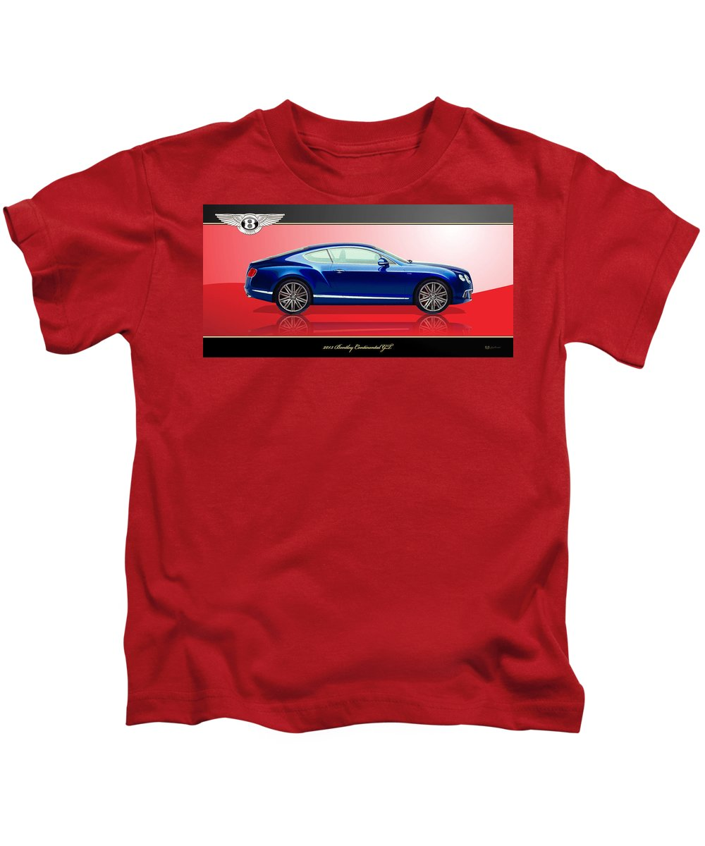 Wheels Of Fortune By Serge Averbukh Kids T-Shirt featuring the photograph Bentley Continental GT with 3D Badge by Serge Averbukh
