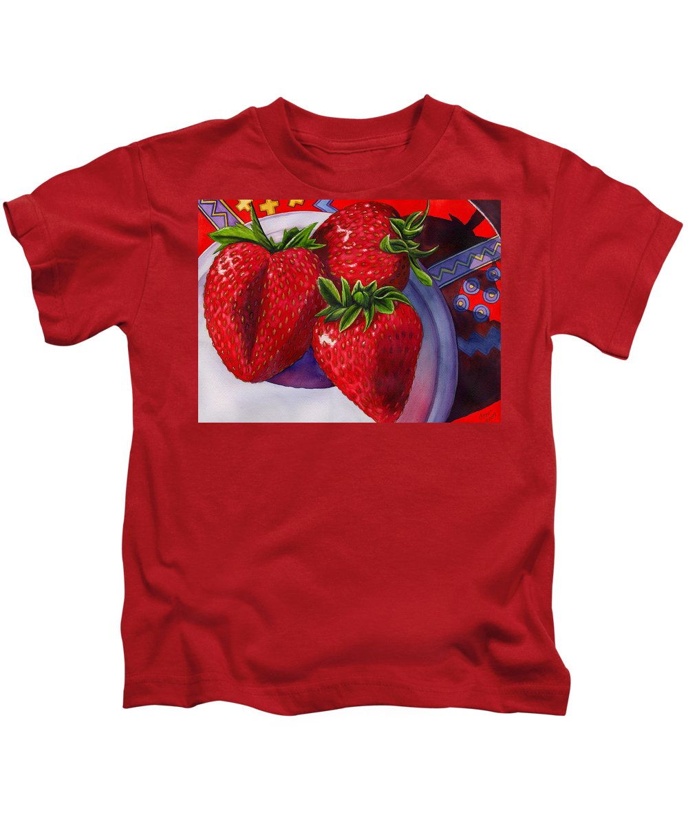 Strawberries Kids T-Shirt featuring the painting Berry Berry Berry Good by Catherine G McElroy