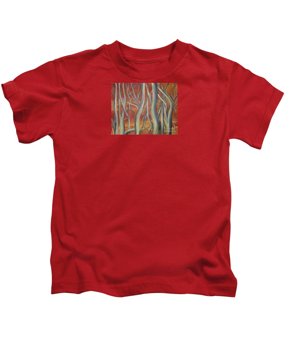 Trees Forest Original Painting Abstract Kids T-Shirt featuring the painting Beyond by Leila Atkinson