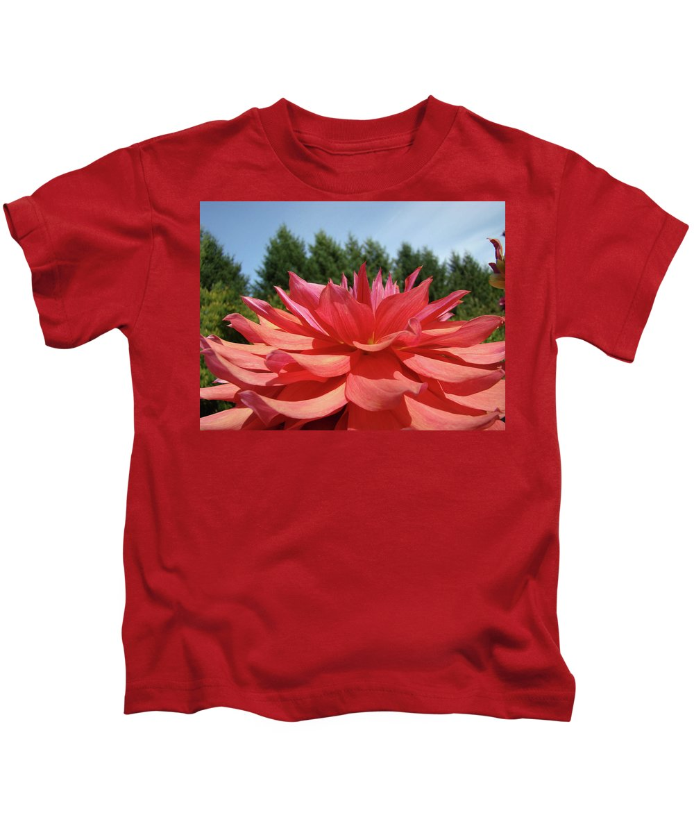 Dahlia Kids T-Shirt featuring the photograph Big Dahlia Flower Blooming Summer Floral Art Prints Baslee Troutman by Baslee Troutman
