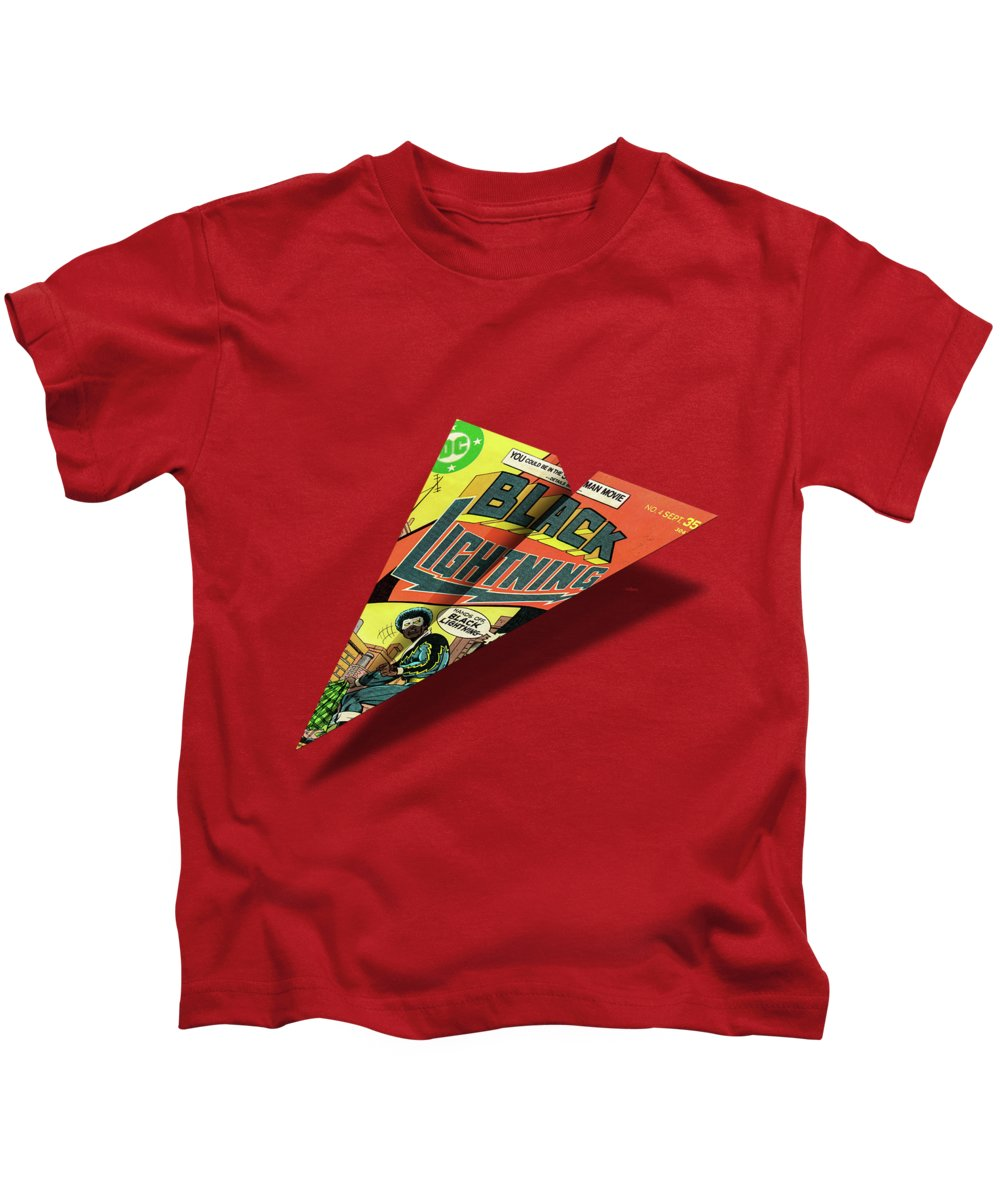 c597a62778c1 Advertising Kids T-Shirt featuring the digital art Black Lightning 4 Cover  Mad Paper Airplane