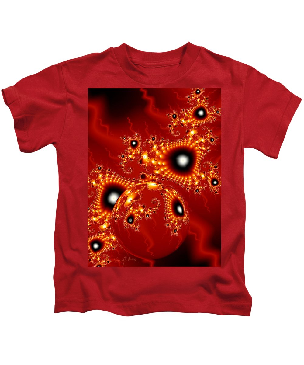 Fractal Passion Love Red Sphere Kids T-Shirt featuring the digital art Blood In Love by Veronica Jackson