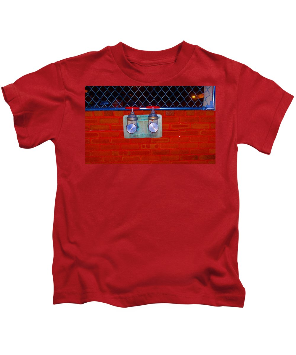 Color Photograph Kids T-Shirt featuring the photograph Blue And Red Pipe by Thomas Valentine