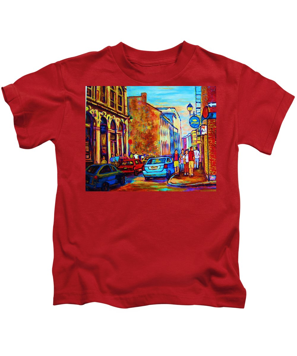 Montreal Kids T-Shirt featuring the painting Blue Cars At The Resto Bar by Carole Spandau