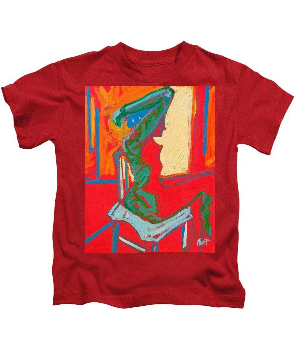 Woman Kids T-Shirt featuring the painting Blue Chair Study by Kurt Hausmann