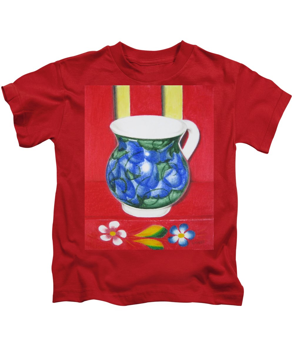 Blue Jarrito Kids T-Shirt featuring the painting Blue Jarrito by Lynet McDonald