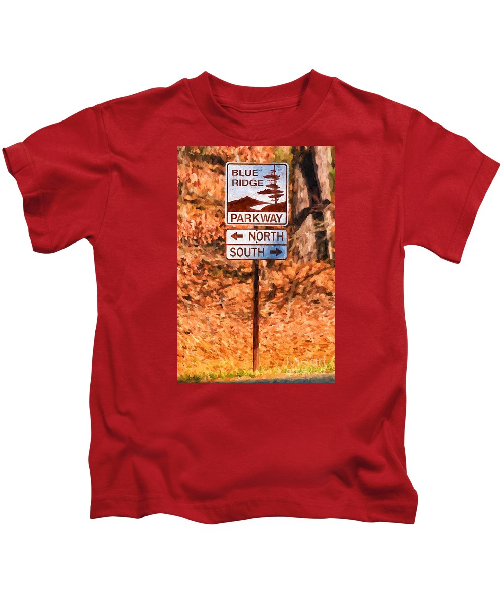 Blue Kids T-Shirt featuring the photograph Blue Ridge Parkway Sign by Les Palenik