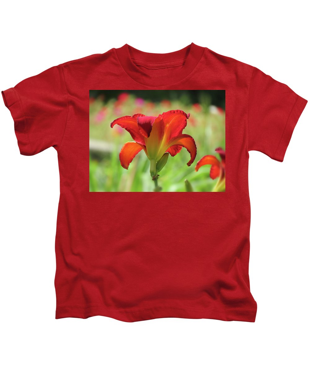 Chicago Apache Daylily Kids T-Shirt featuring the photograph Bold Red - Daylily by MTBobbins Photography