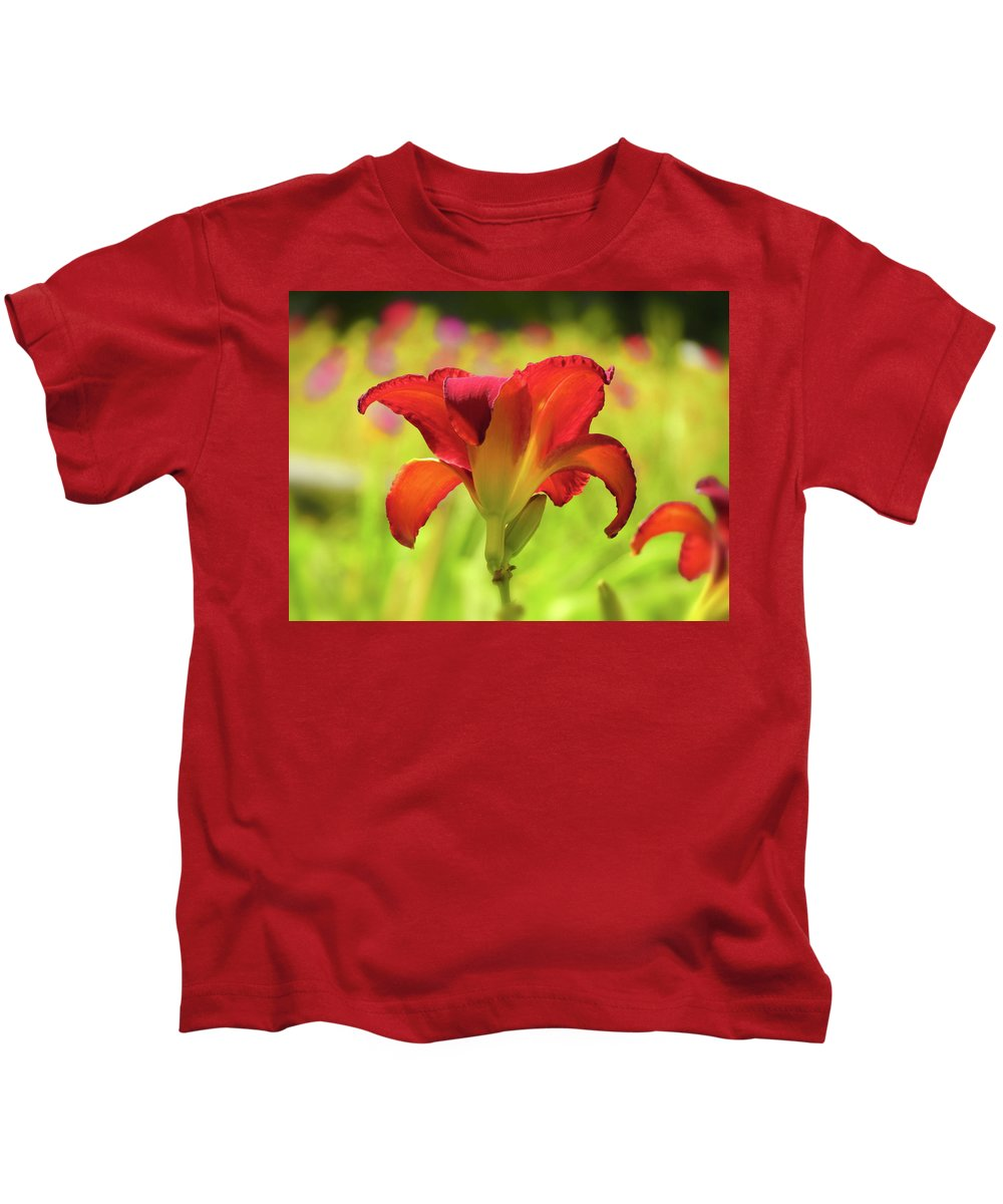 Chicago Apache Daylily Kids T-Shirt featuring the photograph Bold Red Gold - Daylily by MTBobbins Photography