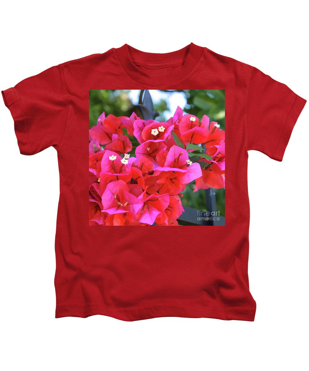 Bougainvillea Kids T-Shirt featuring the photograph Bougainvillea Square by Carol Groenen