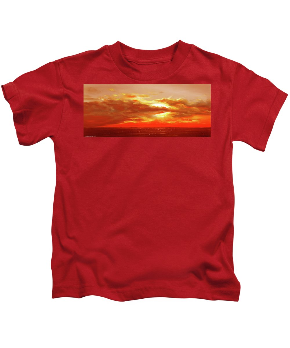 Brown Kids T-Shirt featuring the painting Bound Of Glory - Red Panoramic Sunset by Gina De Gorna