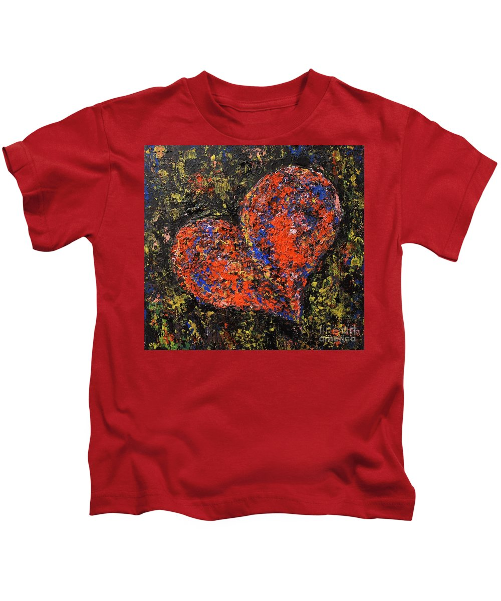 Heart Kids T-Shirt featuring the painting Brave by Andreea Moldovan