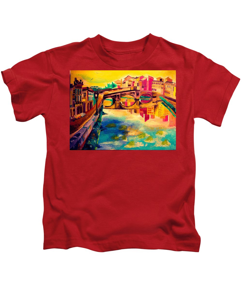 Bridge Kids T-Shirt featuring the painting Bridge by Ashes Rose