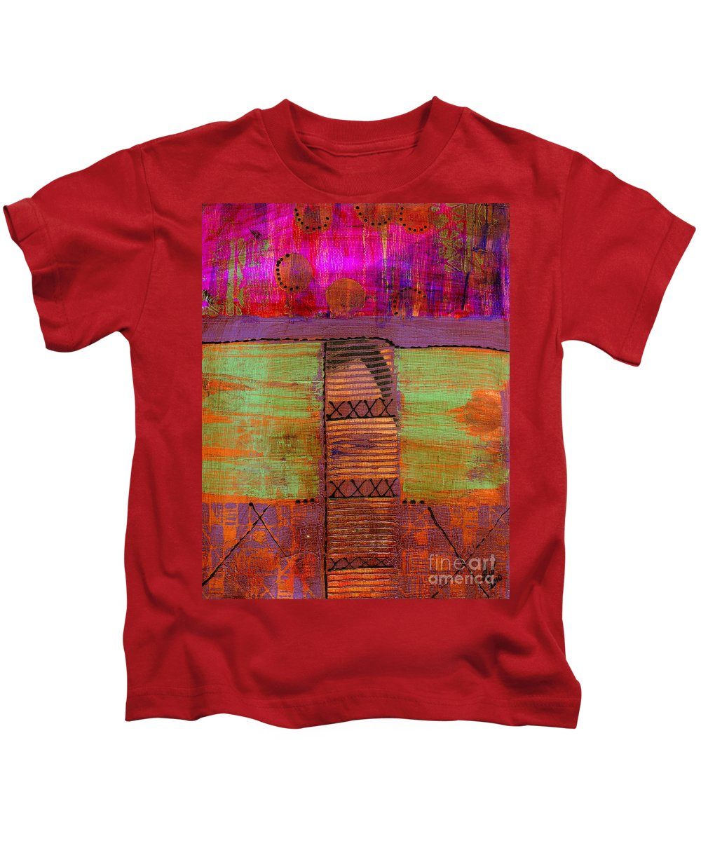 Vibrant Kids T-Shirt featuring the mixed media Bridging The Gap II by Angela L Walker