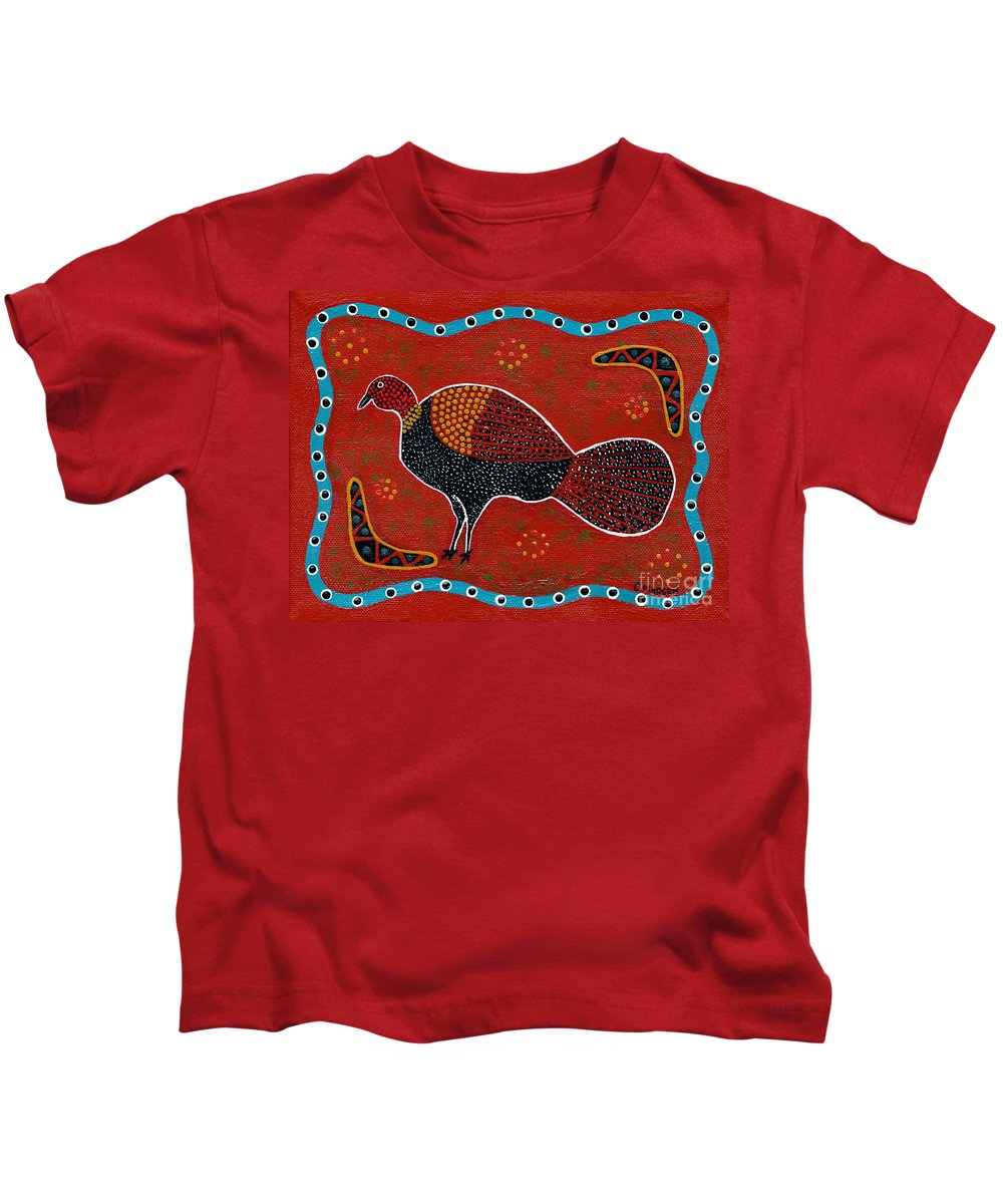 Brushturkey Kids T-Shirt featuring the painting Brush Turkey by Clifford Madsen