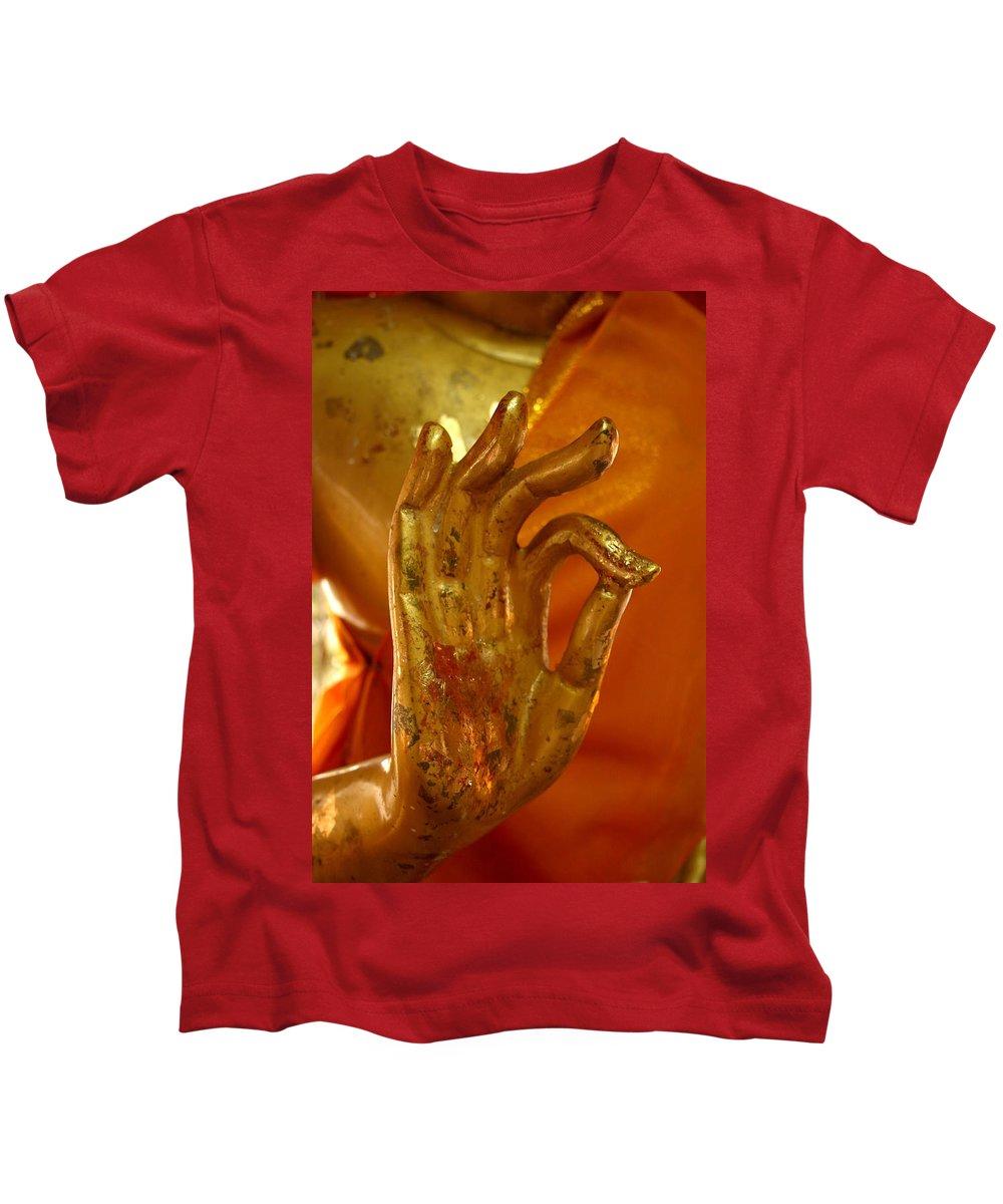 Buddhism Kids T-Shirt featuring the photograph Buddhism Symbols by Minaz Jantz
