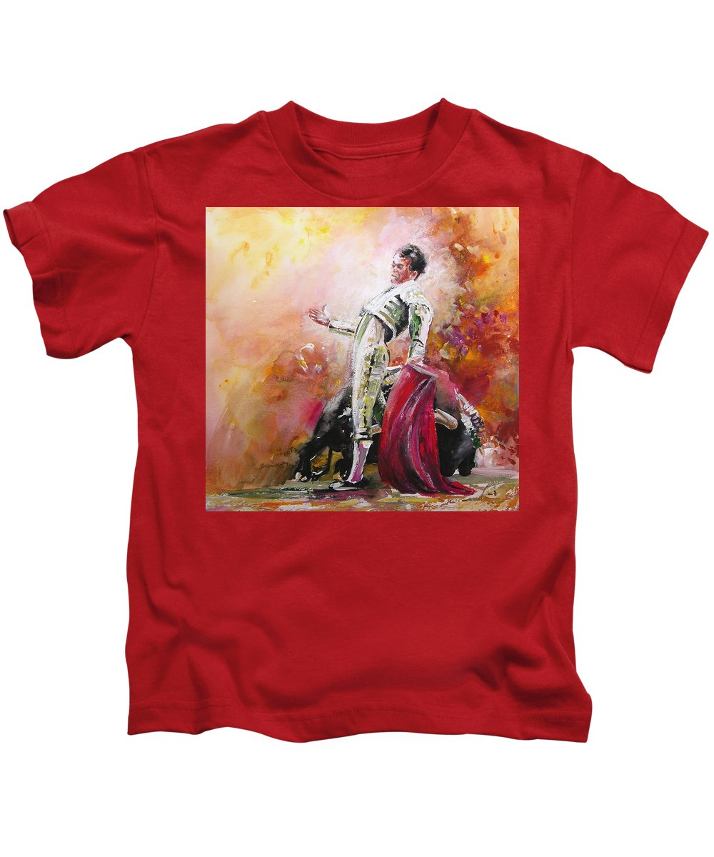 Animals Kids T-Shirt featuring the painting Bullfight 24 by Miki De Goodaboom