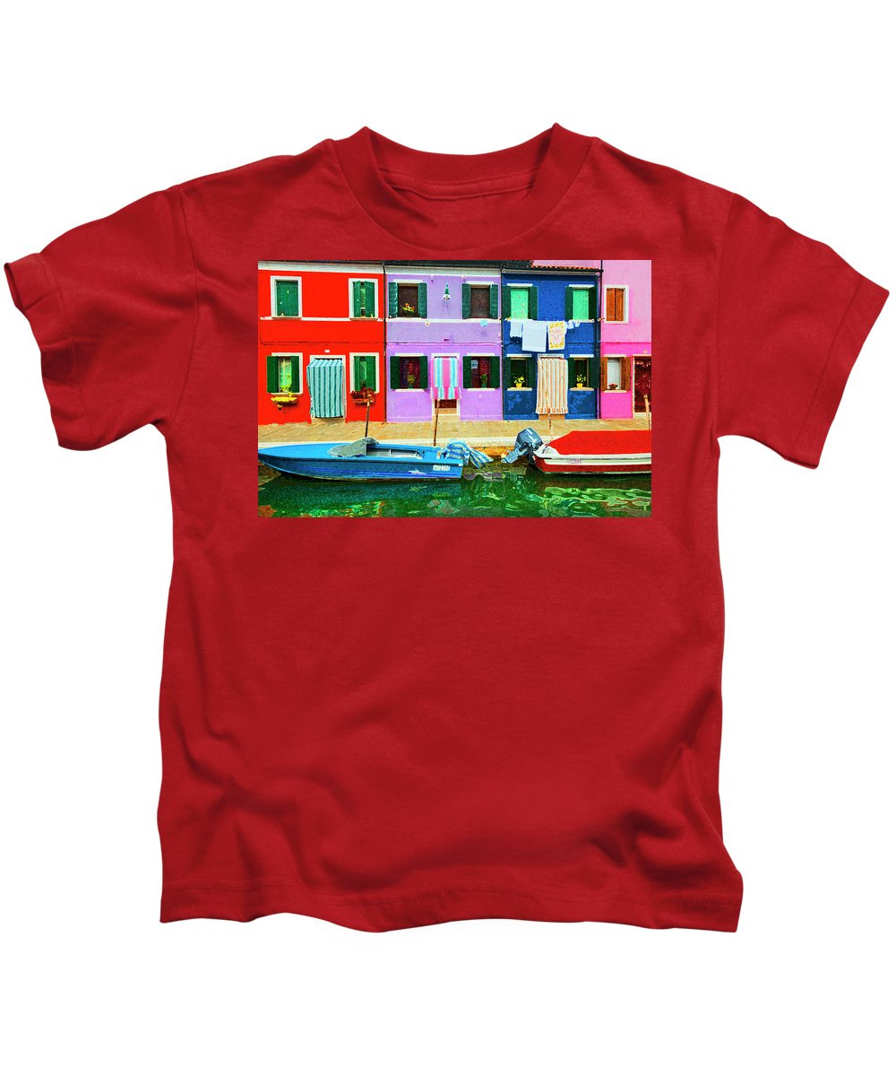 Burano Kids T-Shirt featuring the photograph Burano Anisland Of Multi Colored Homes On Canals North Of Venice Italy by Bruce Beck