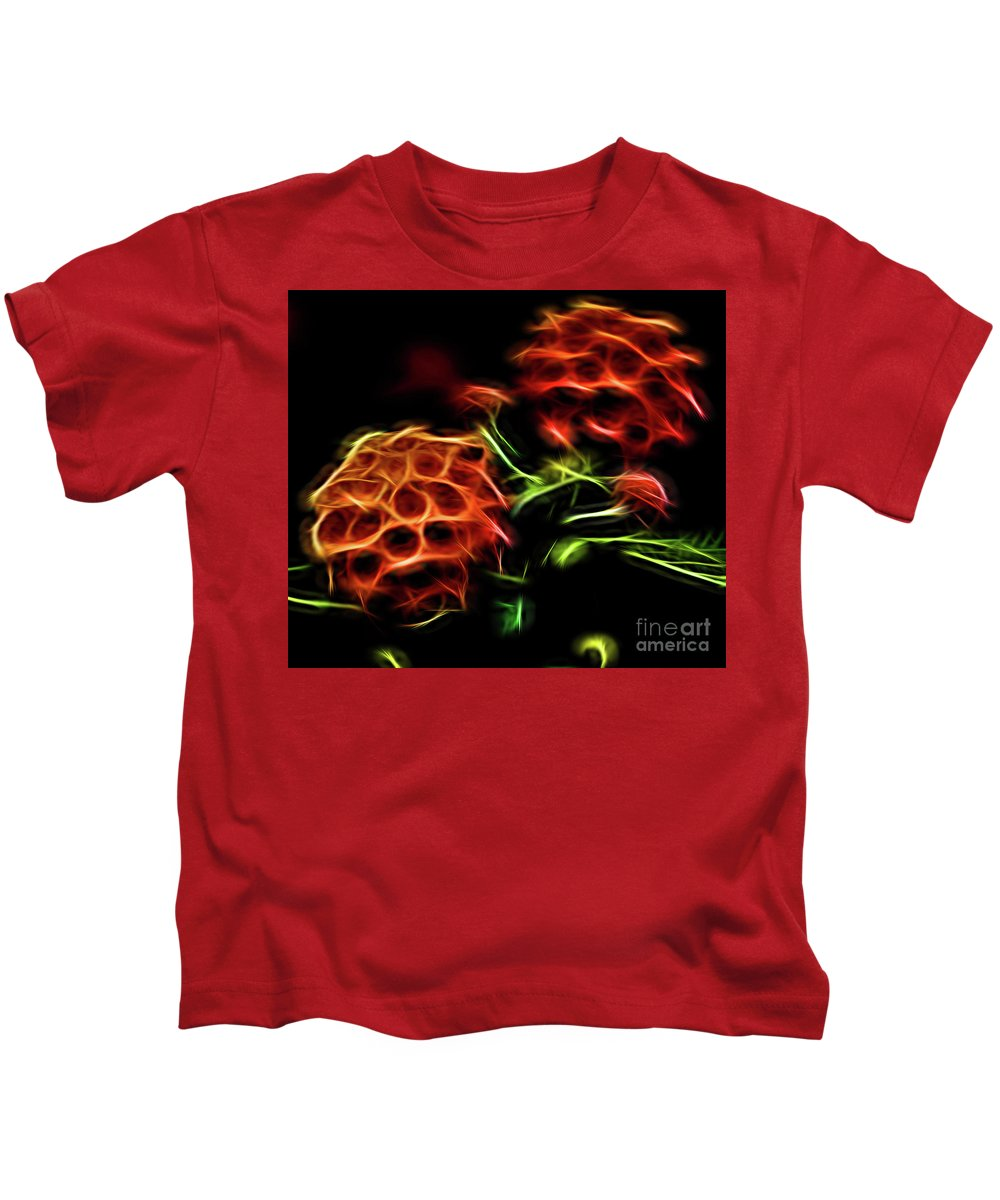 Flower Kids T-Shirt featuring the photograph Burning Flower by Carolyn Truchon