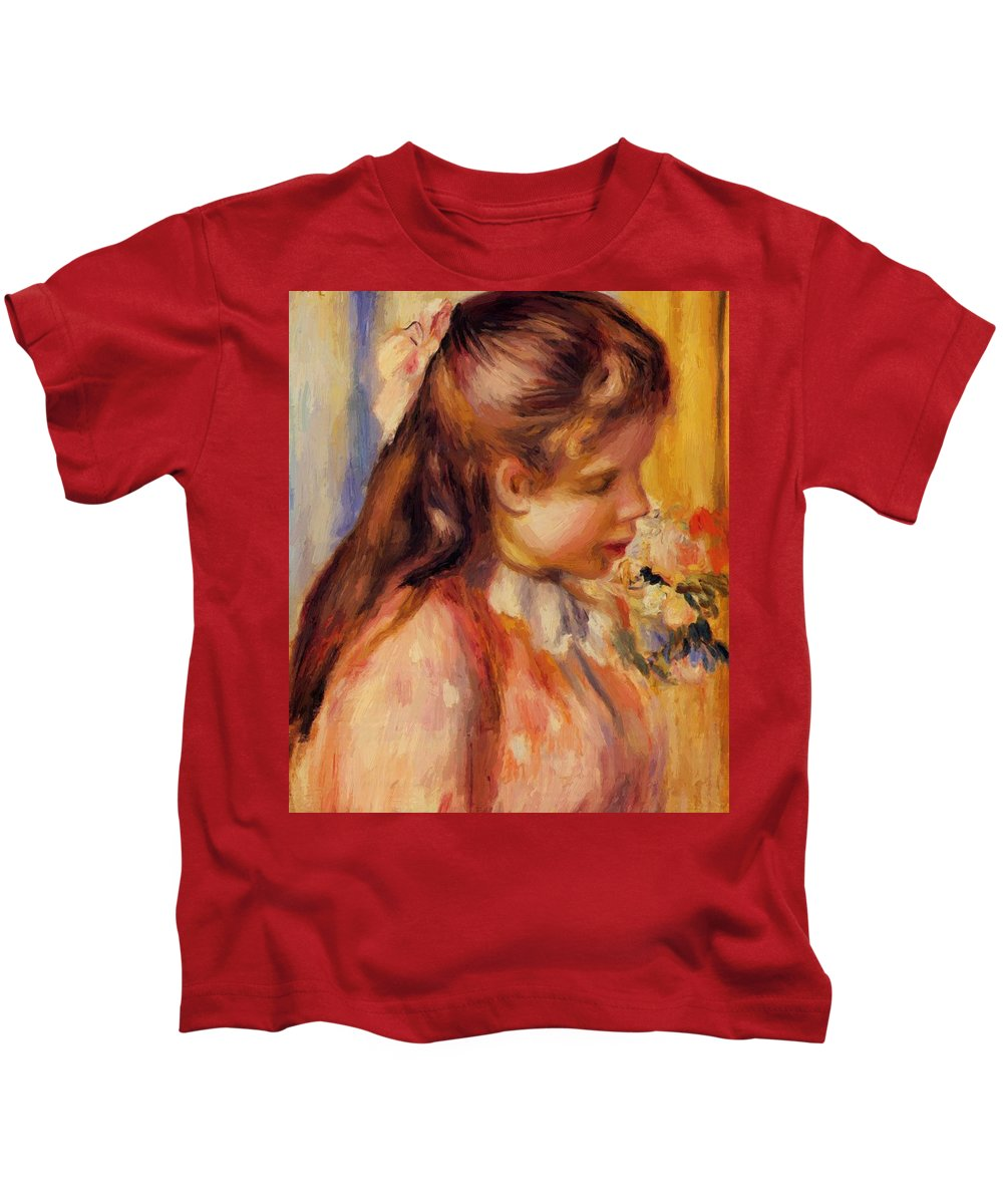 Bust Kids T-Shirt featuring the painting Bust Of A Young Girl by Renoir PierreAuguste