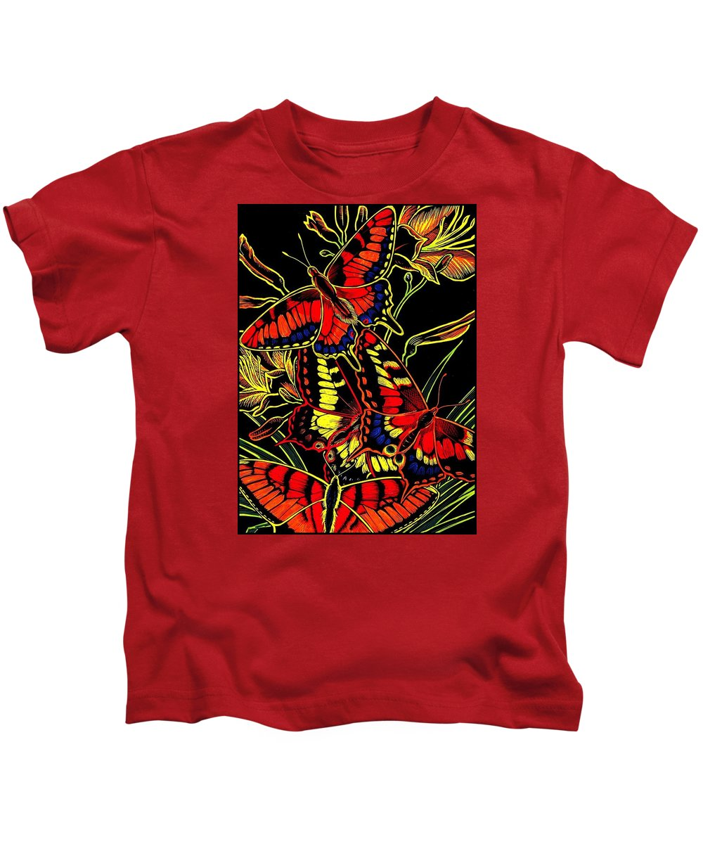 Butterflies Kids T-Shirt featuring the drawing Butterflies and Day Lilies by Jim Harris