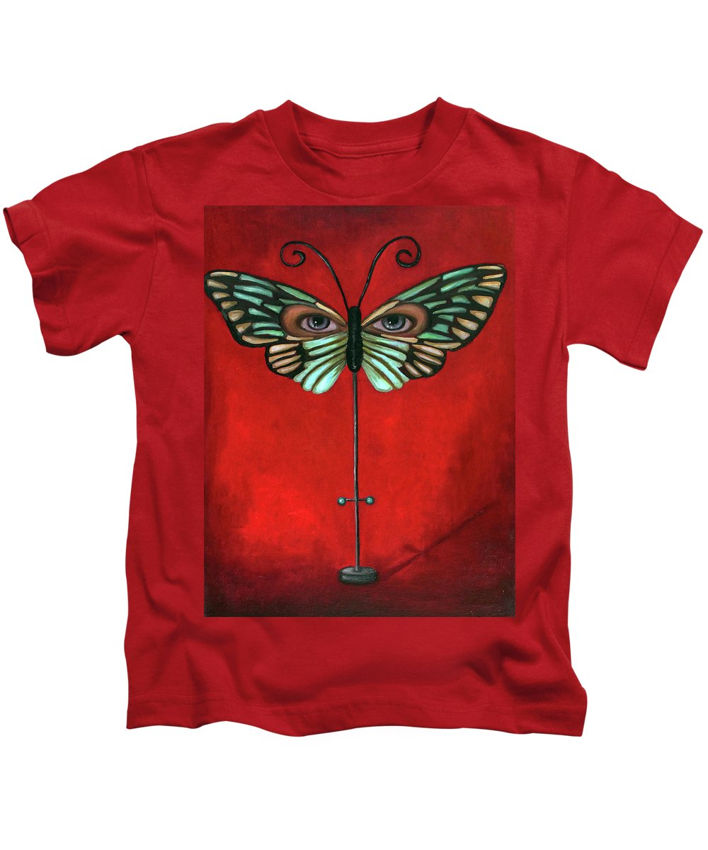 Butterfly Kids T-Shirt featuring the painting Butterfly Eyes by Leah Saulnier The Painting Maniac