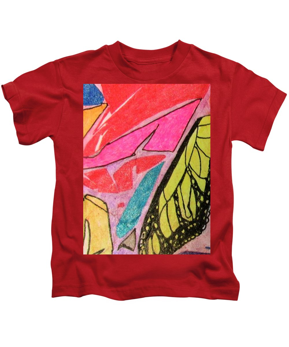 Design Abstract Elements Kids T-Shirt featuring the painting Butterfly Wing by Hal Newhouser