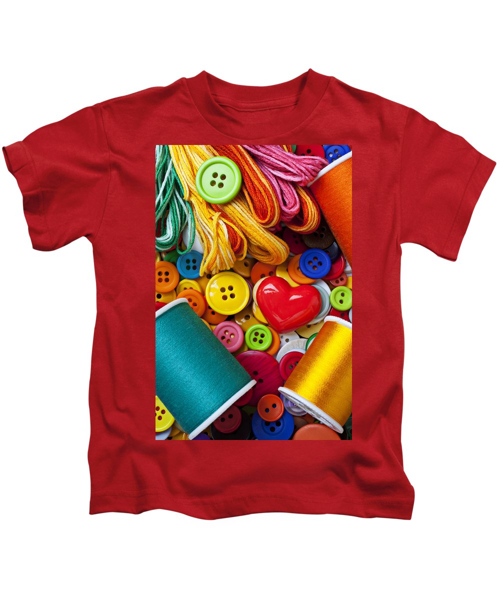 Red Kids T-Shirt featuring the photograph Buttons And Thread by Garry Gay