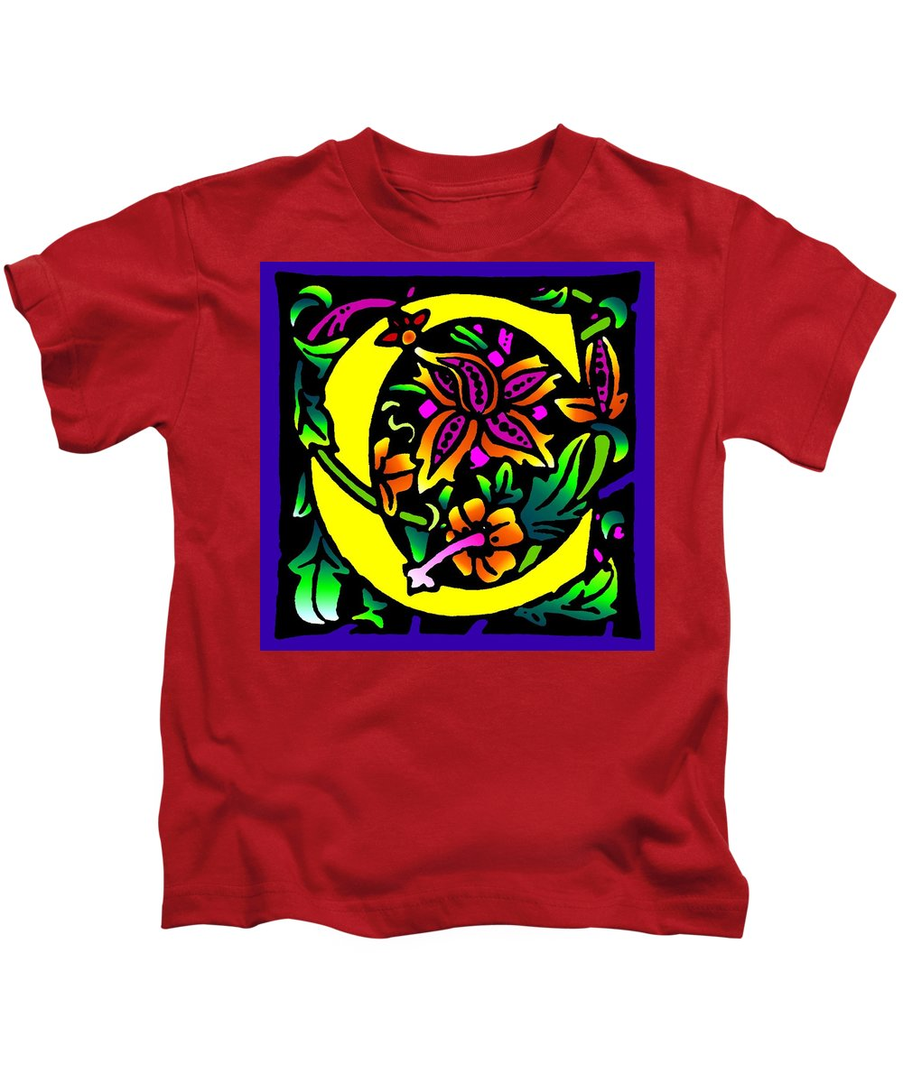 Alphabet Kids T-Shirt featuring the digital art C In Yellow by Kathleen Sepulveda