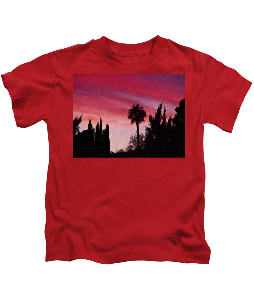 California Kids T-Shirt featuring the painting California Sunset Painting 1 by Teresa Mucha