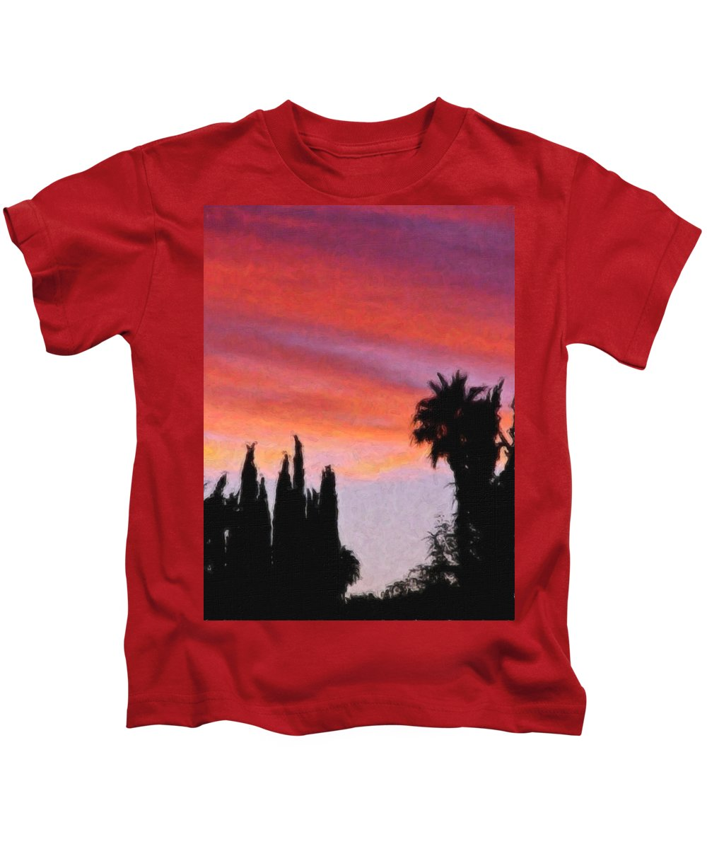 California Kids T-Shirt featuring the painting California Sunset Painting 3 by Teresa Mucha