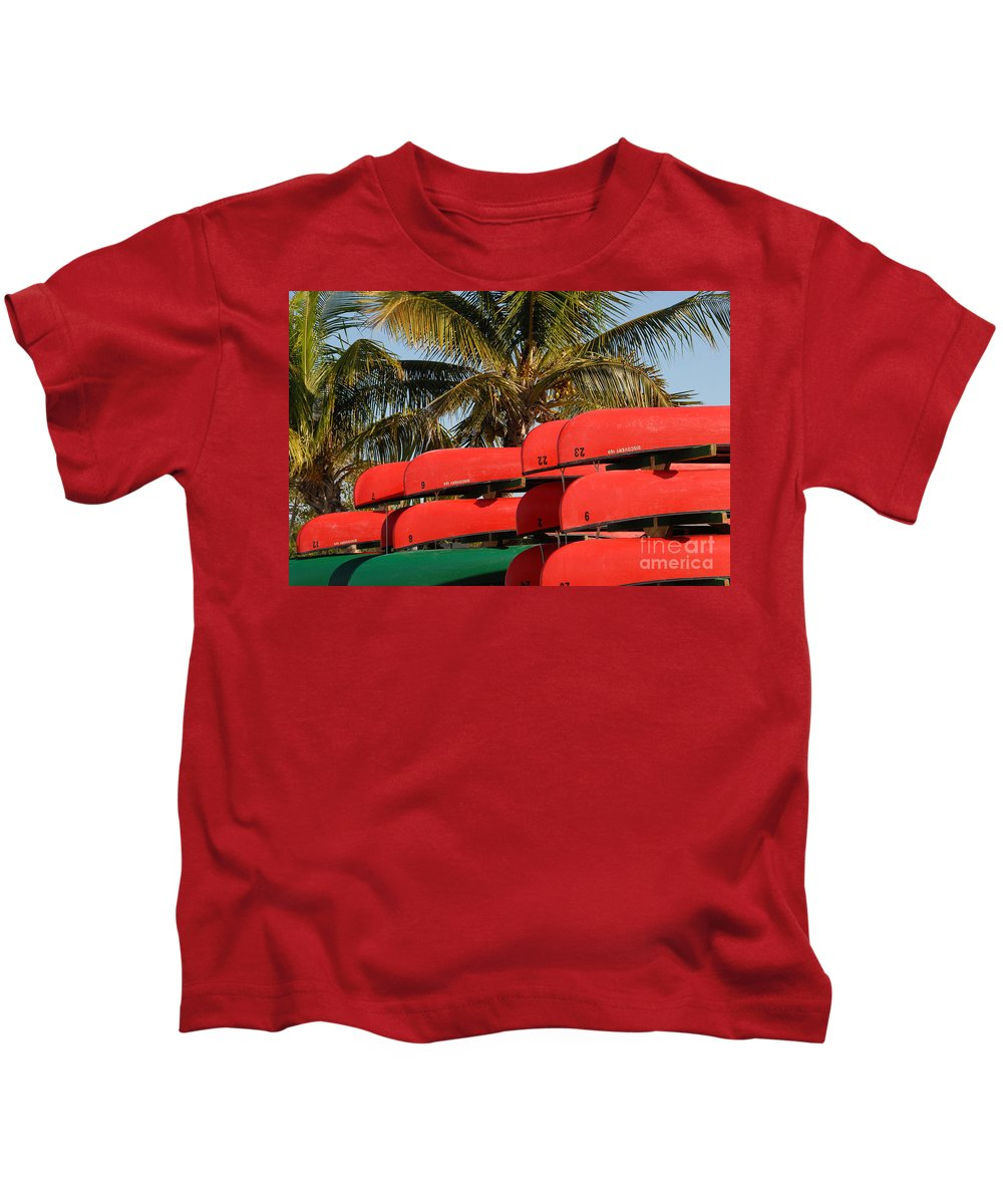 Flamingo Florida Kids T-Shirt featuring the photograph Canoe's At Flamingo by David Lee Thompson