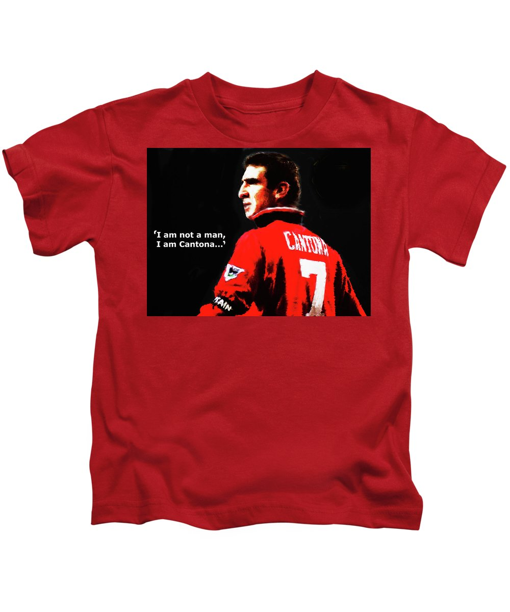 Eric Cantona Kids T-Shirt featuring the painting Cantona by Enki Art