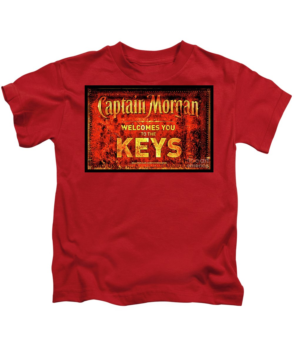 Captain Morgan Kids T-Shirt featuring the photograph Captain Morgan Welcome Florida Keys by John Stephens