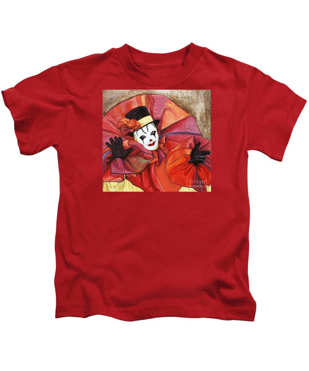 Clown Kids T-Shirt featuring the painting Carnival Clown by Patty Vicknair