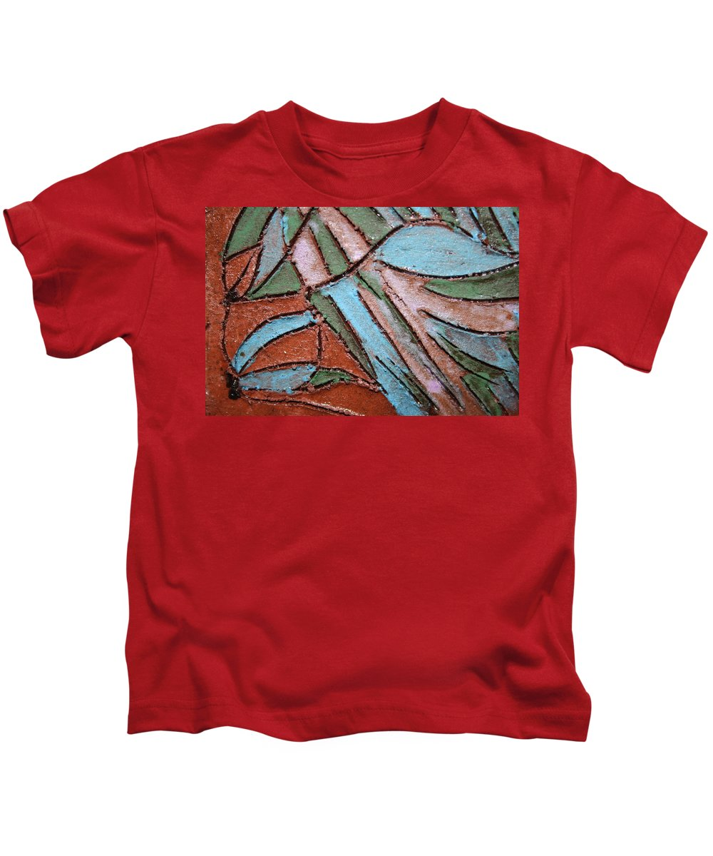 Gloria Ssali Kids T-Shirt featuring the painting Carnival Headdress Tile by Gloria Ssali