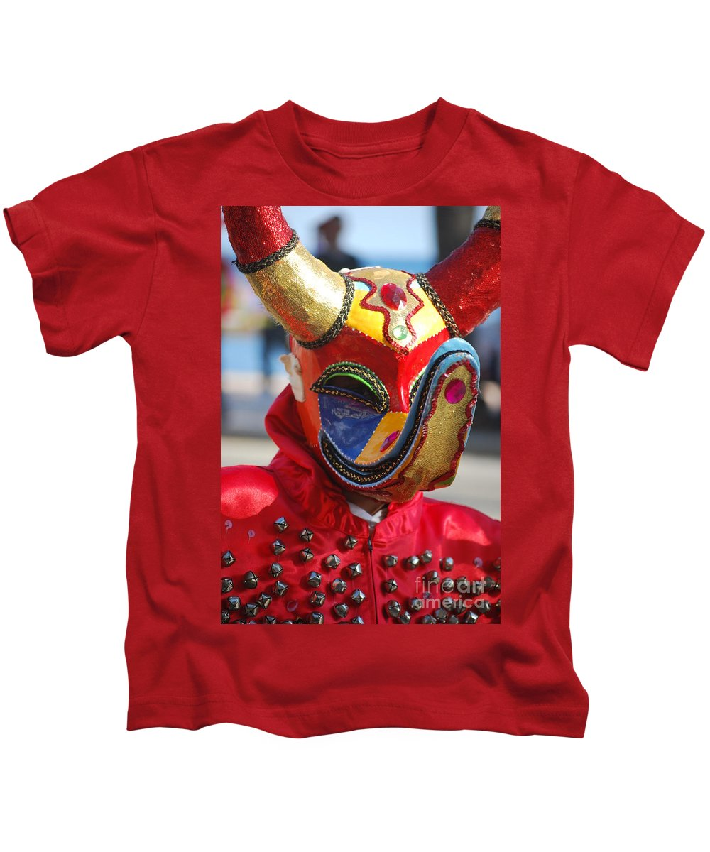 Kids T-Shirt featuring the photograph Carnival Red Duck Portrait by Heather Kirk