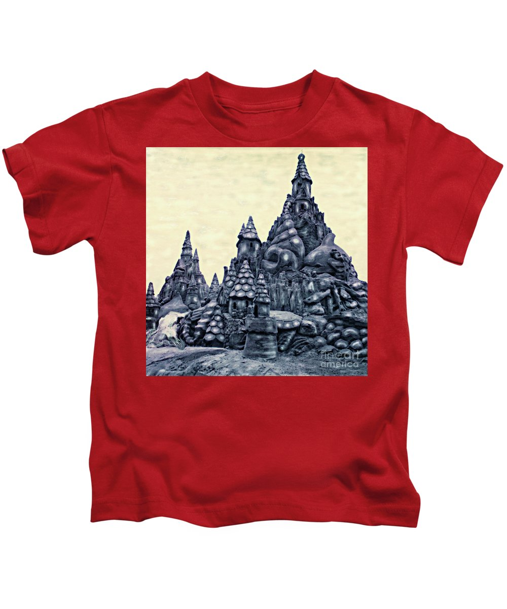 Sandcastles Kids T-Shirt featuring the photograph Castles On The Beach by Keith Dillon