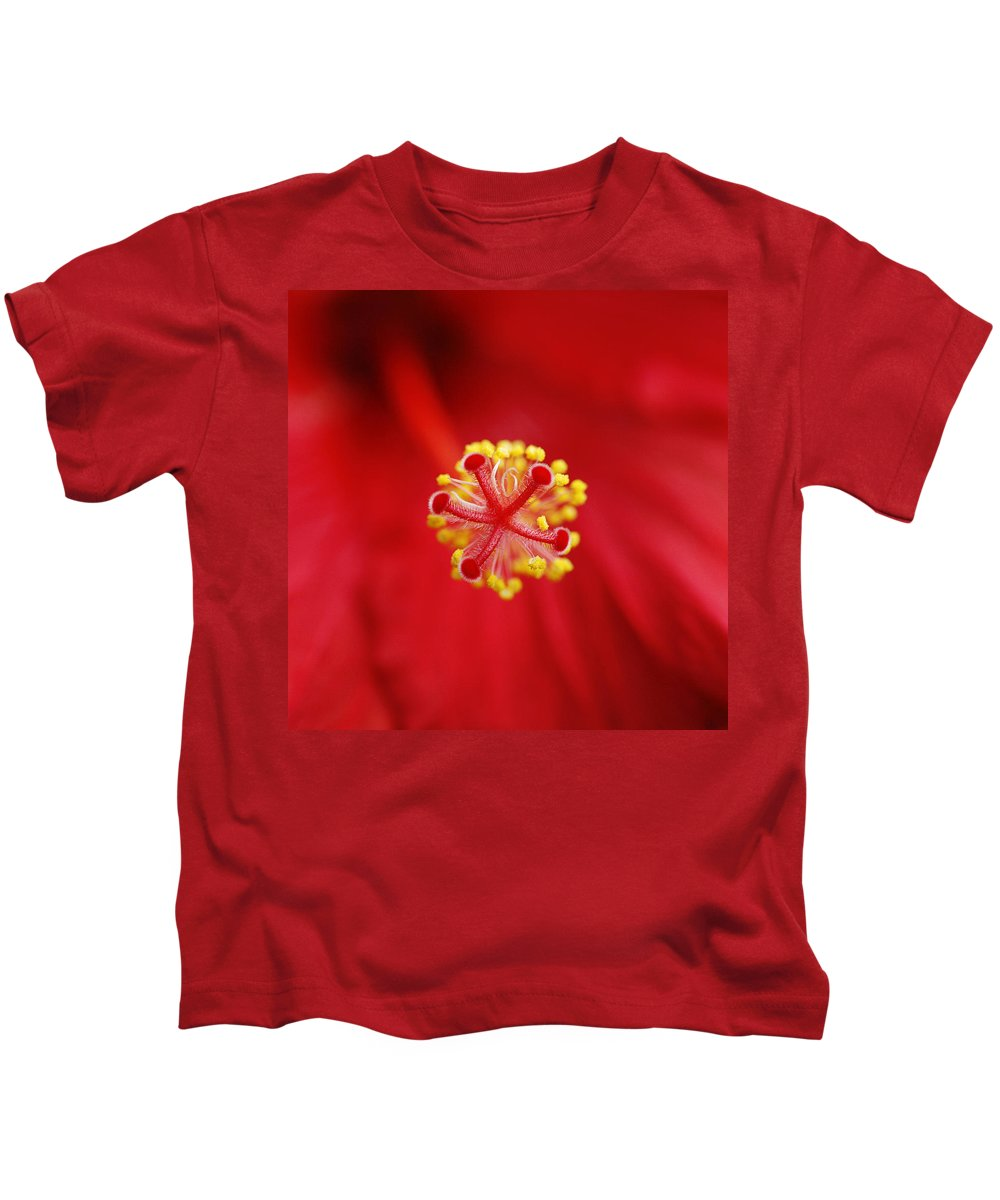 Flower Kids T-Shirt featuring the photograph Center Of The Hibiscus Universe by Marilyn Hunt