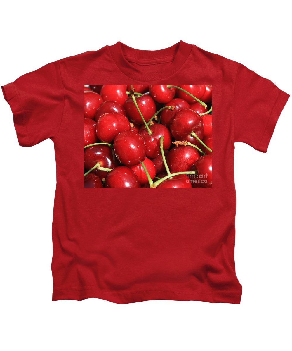 Food And Beverages Kids T-Shirt featuring the photograph Cherries by Carol Groenen
