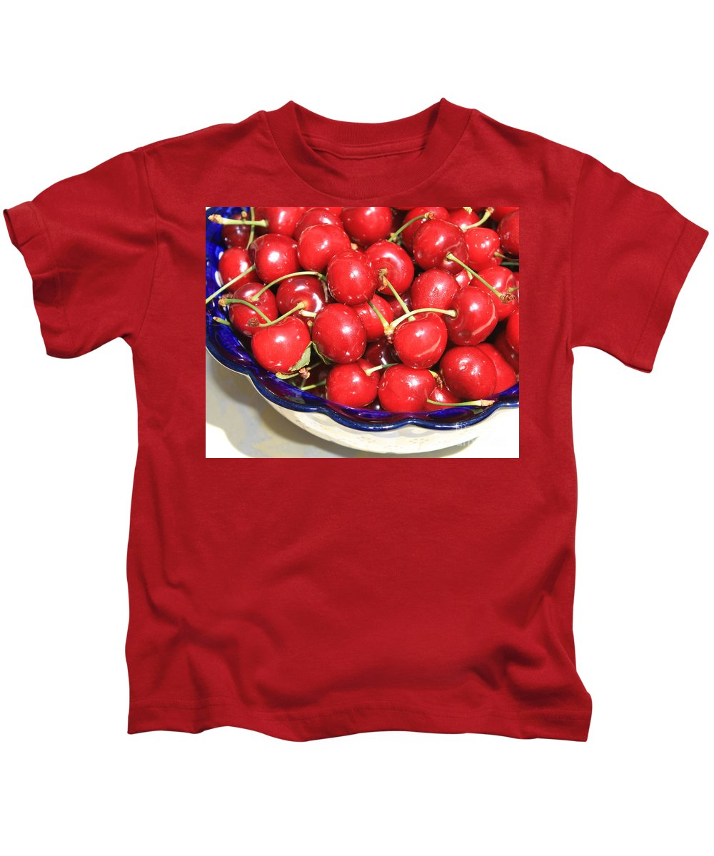 Food Kids T-Shirt featuring the photograph Cherries In A Bowl Close-up by Carol Groenen