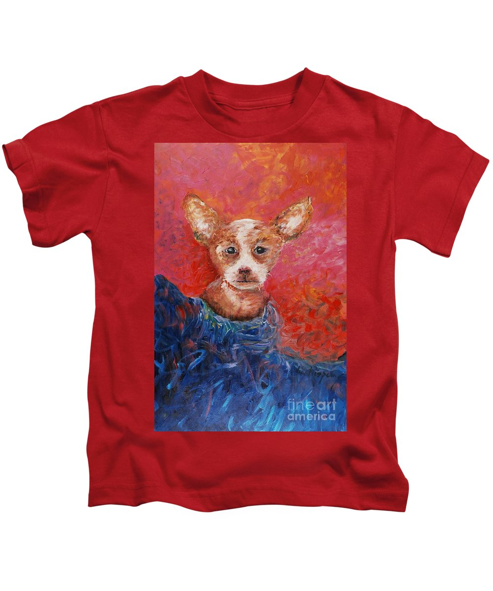Dog Kids T-Shirt featuring the painting Chihuahua Blues by Nadine Rippelmeyer