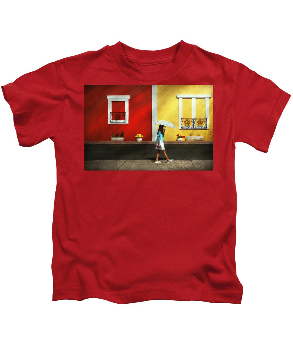Child Kids T-Shirt featuring the photograph Child - A Bright Sunny Day by Mike Savad